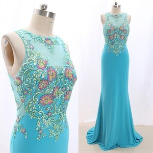 Sheath Jersey Turquoise Prom Dress Evening Gown